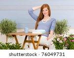 summer terrace redhead woman... | Shutterstock . vector #76049731
