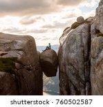 woman on kjeragbolten travel in ...   Shutterstock . vector #760502587