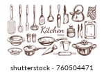 kitchen utensil  tools set.... | Shutterstock .eps vector #760504471