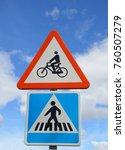 traffic signs pedestrian... | Shutterstock . vector #760507279