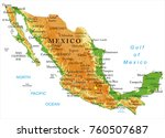 mexico physical map | Shutterstock .eps vector #760507687