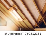 house attic under construction... | Shutterstock . vector #760512151