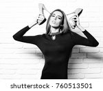 young fashionable sexy pretty... | Shutterstock . vector #760513501