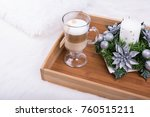 a cappuccino drink and... | Shutterstock . vector #760515211