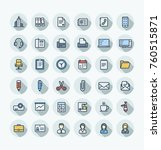 vector flat thin line icons set ... | Shutterstock .eps vector #760515871