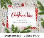 holiday christmas card with fir ... | Shutterstock .eps vector #760515979