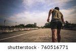 athletic man running in the... | Shutterstock . vector #760516771