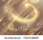 golden dust particle star trail ... | Shutterstock .eps vector #760518889