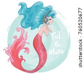 cute mermaid vector design. | Shutterstock .eps vector #760520677