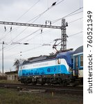 Small photo of Dolni Berkovice, Czech Republic - November 22, 2017 - Siemens Vectron, modern electric locomotive of Deutsche Bahn in new graphic design of Ceske drahy - We connect people and places.