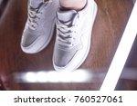 fashion sneakers. lighting... | Shutterstock . vector #760527061