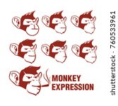 monkey expression vector logo | Shutterstock .eps vector #760533961