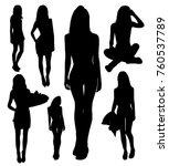 set of girl silhouettes | Shutterstock .eps vector #760537789