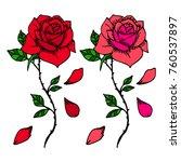 Stock vector rose vector illustration doodle style design print logo decor textile paper 760537897