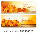 happy thanksgiving banners with ... | Shutterstock .eps vector #760538395