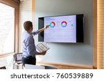 businessman present the monthly ... | Shutterstock . vector #760539889