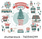 set the christmas market at the ... | Shutterstock .eps vector #760544299