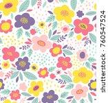 cute floral vector pattern....   Shutterstock .eps vector #760547524