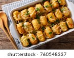 baked tater tots with ground... | Shutterstock . vector #760548337