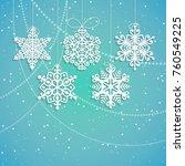 hanging paper snowflakes vector ...   Shutterstock .eps vector #760549225
