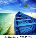 Blue Boat On A Beach