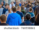 crowd of people on the street.... | Shutterstock . vector #760558861
