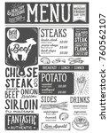 steak menu for restaurant and... | Shutterstock .eps vector #760562107