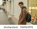 fashionable young model of a... | Shutterstock . vector #760563991