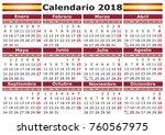 calendario 2018 spanish... | Shutterstock .eps vector #760567975