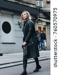 fashionable young woman wearing ... | Shutterstock . vector #760570975