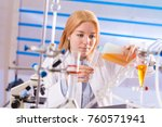 female laboratory assistant... | Shutterstock . vector #760571941