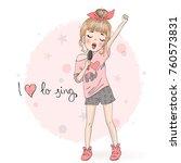 hand drawn beautiful cute... | Shutterstock .eps vector #760573831