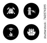 firefighting glyph icons set.... | Shutterstock .eps vector #760574395