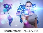 woman in global travel concept | Shutterstock . vector #760577611
