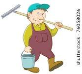 man gardener with a bucket and... | Shutterstock .eps vector #76058026