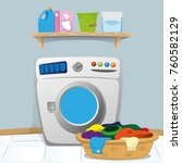 illustration of a laundry room... | Shutterstock .eps vector #760582129