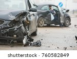 car crash accident on street ... | Shutterstock . vector #760582849