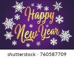 happy new year. typographic... | Shutterstock . vector #760587709