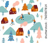 christmas seamless pattern in... | Shutterstock .eps vector #760587814