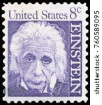 Small photo of UNITED STATES OF AMERICA - CIRCA 1965: A postage stamp with a portrait of famous physicist Albert Einstein (1879-1955), commemorating the 10th year since his death, printed in America, circa 1965.