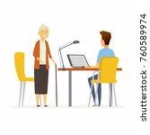 volunteer help senior woman  ...   Shutterstock .eps vector #760589974