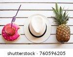 set of summer. pineapple hat... | Shutterstock . vector #760596205