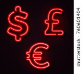 currency neon symbols dollar... | Shutterstock .eps vector #760601404