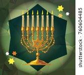 golden menorah on a mosaic...   Shutterstock .eps vector #760604485