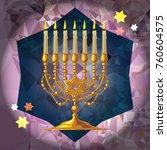 golden menorah on a mosaic...   Shutterstock .eps vector #760604575