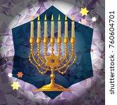 golden menorah on a mosaic...   Shutterstock .eps vector #760604701