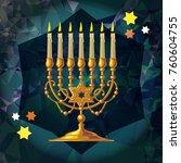 golden menorah on a mosaic...   Shutterstock .eps vector #760604755