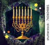golden menorah on a mosaic...   Shutterstock .eps vector #760604881