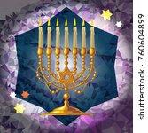 golden menorah on a mosaic...   Shutterstock .eps vector #760604899