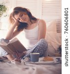 girl in bed reading and... | Shutterstock . vector #760606801